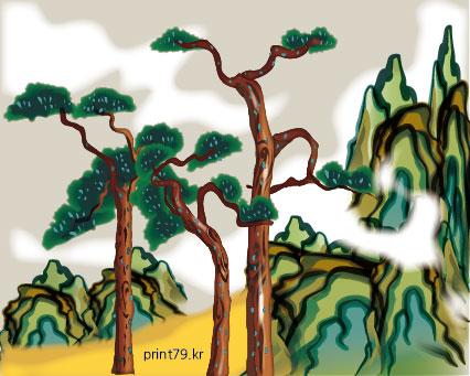 181224-민화풍-소나무와 산-01.jpg